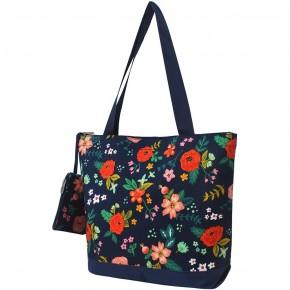 Navy floral canvas tote bag