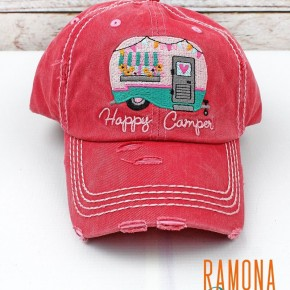 'Happy Camper' distressed ball cap
