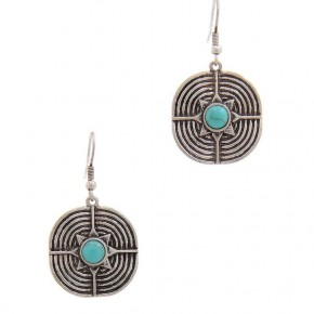 Silver drop earrings with turquoise bead