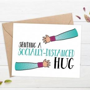 'Sending A Socially-Distanced Hug' card