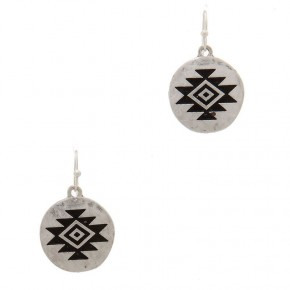 Round metal drop earrings with aztec design