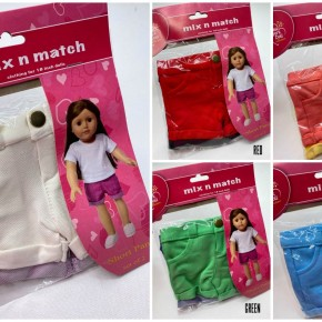 18-inch doll solid shorts, set of 2