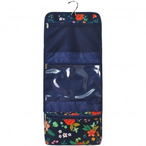 Navy Floral Roll-up Travel Cosmetic Bag