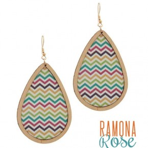Colorful Chevron Wood Drop