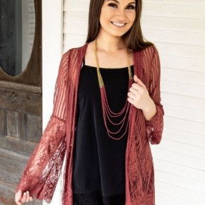 Country Chic Detailed Lace Kimono Rust