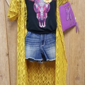 Crazy Train Mustard Lace Duster