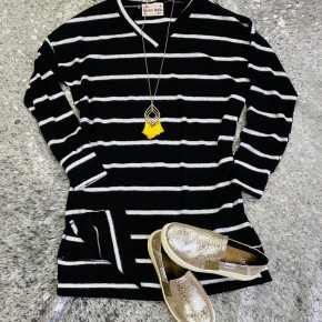 Black Stripe Knit Sweater Tunic