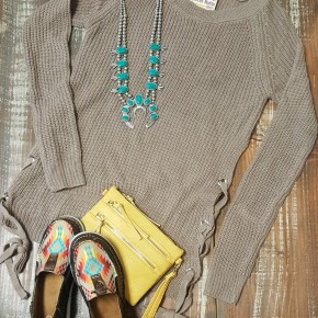Panhandle Mocha Side Tie Sweater