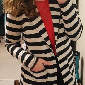Black & Oatmeal Stripe Blazer