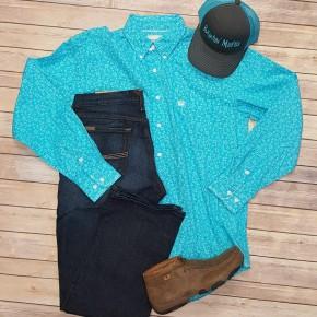 Panhandle Men's Turquoise Roughstock Shirt