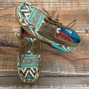 Twisted X Teal Aztec Moc