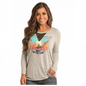 Rock & Roll Cowgirl Graphic Long Sleeve Tee With Lace