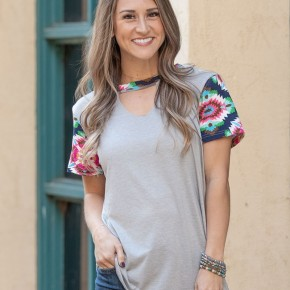 Keeping it Real Light Grey Aztec Sleeve Top