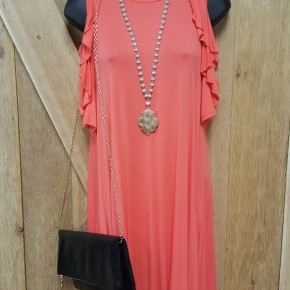 Cold Shoulder Ruffle Sleeve Coral Dress