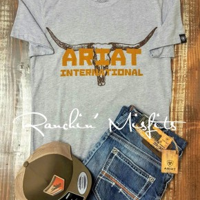 Ariat Grey Longhorn Men's T-shirt