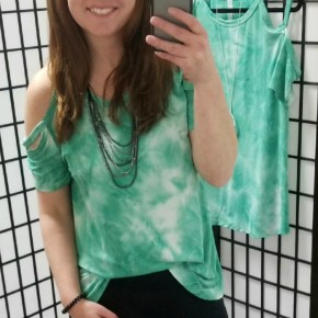 Ombre Green Open Shoulder Top