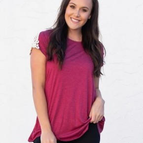 Adeline's  Magenta Crochet Shoulder Top