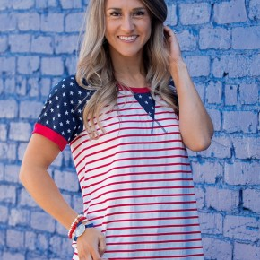 Backyard BBQ Striped Top with Star Accents