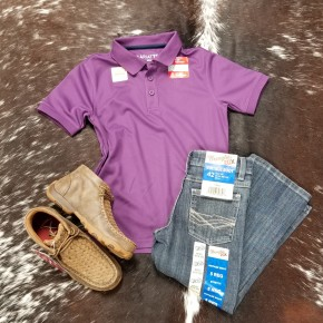 Ariat BOYS Berry Grape TEK Polo