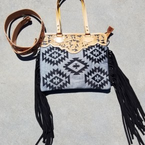 AD Black Southwest Patterned Purse With Tooled Leather Accents
