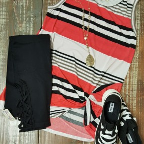 Dark Coral Stripe Side Twist Tank