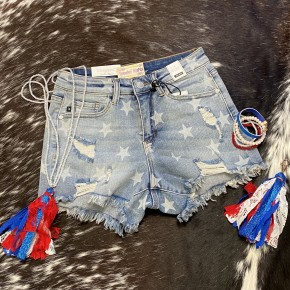 Judy Blue Star Print Destroyed Shorts