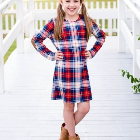 GIRLS Red & Navy Plaid Print Dress
