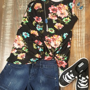 Black Floral Side Twist Tank