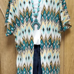 Panhandle Teal & Yellow Aztec Kimono