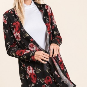 Black Rose Floral Open Front Cardigan