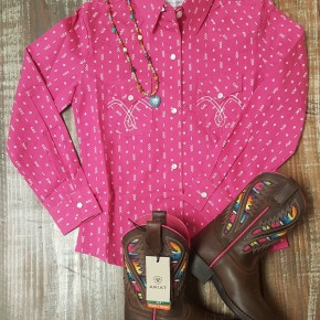 Panhandle GIRLS Pink Arrow Button Up