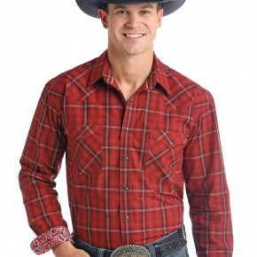 Panhandle Men's Red Plaid Long Sleeve Snap