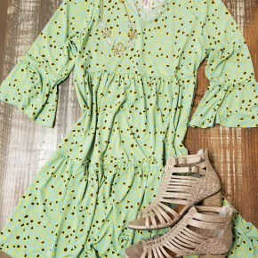 Spring Mint & Yellow Print Dress