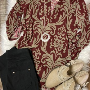 Burgundy & Mocha Damask 3/4 Sleeve