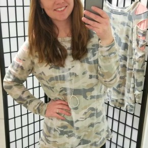 Vintage Camo with Coral Cutout Sleeves
