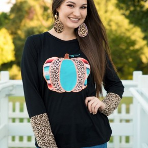Embroidered Pumpkin with Leopard Accent Sleeves