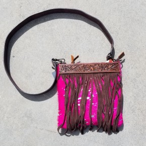 AD Tooled Leather Hair On Hide and Fringe Crossbody Purse