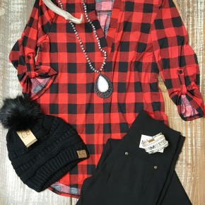 Red & Black Buffalo Check 3/4 Sleeve Top