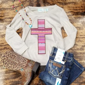 Girls Embroidered Serape Cross