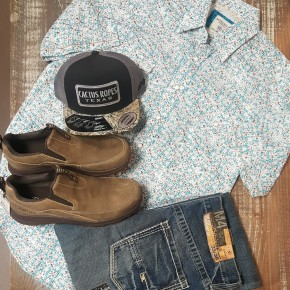 Panhandle Teal & White Retro Print Short Sleeve Snap