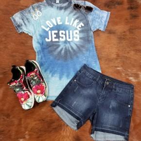 Love Like Jesus Blue Tie Dye Acid Wash