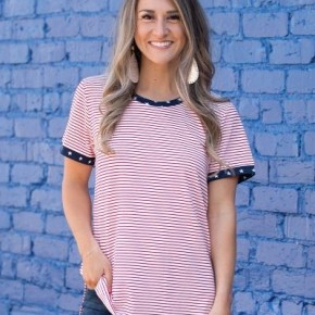 Pretty Patriot Striped Top with Star Ringer Trim
