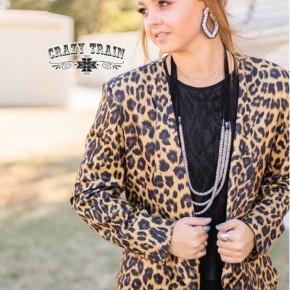 Crazy Train Leopard Boss Babe Blazer