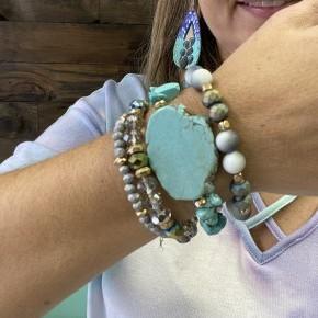 Turquoise Slab Stack Bracelets
