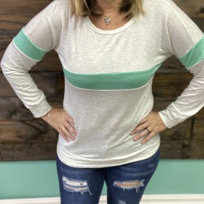 Mint Striped Varsity Pullover | Small to Large *Final Sale*