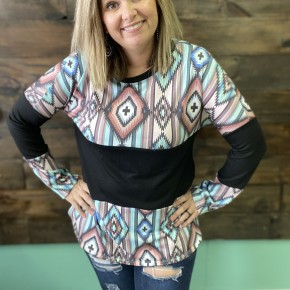Aztec and Black Color Block | Small to Large *Final Sale*