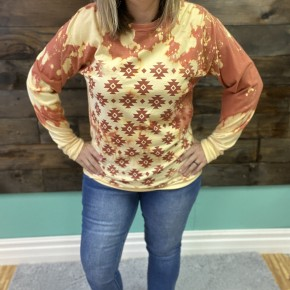 Aztec Bleached Long Sleeve Tee | Small to 2X