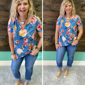 Denim Blue Floral Top | Small to XL