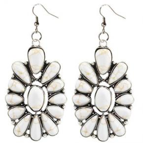 Cream Stone Floral Earrings