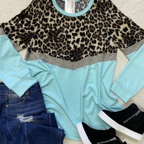 Mint Leopard French Terry | Small to Large
